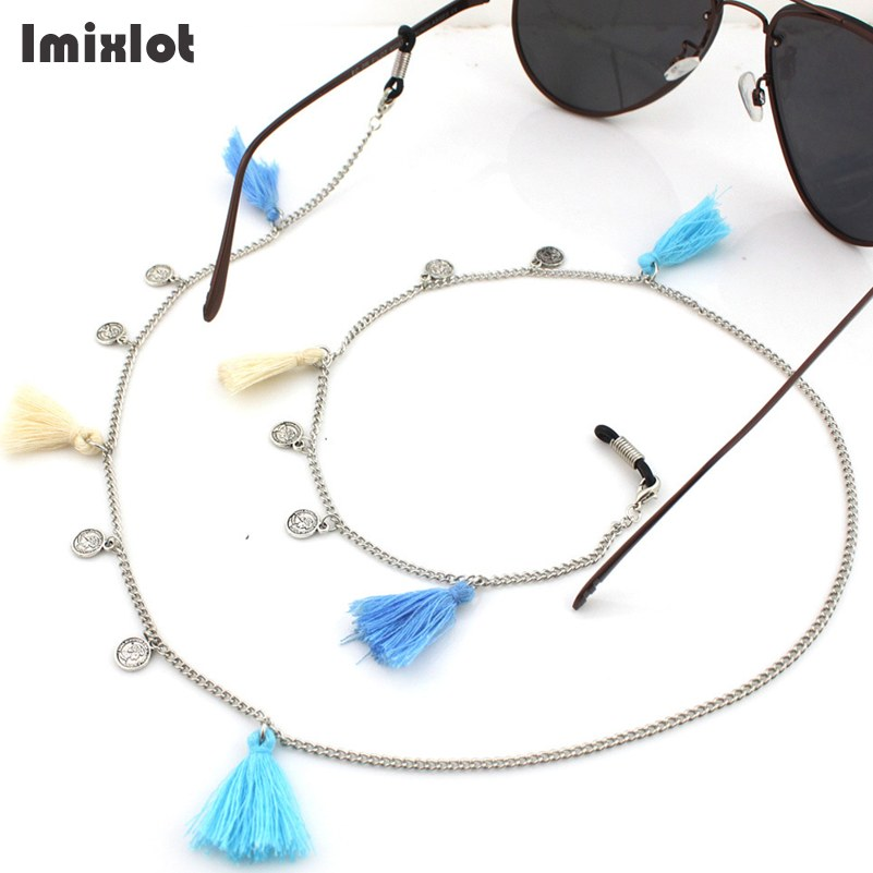 Vintage Coin Pendant Eyeglass Chains With Tassels Metal Sunglasses Reading Glasses Chain Eyewears Cord Holder Neck Strap Rope