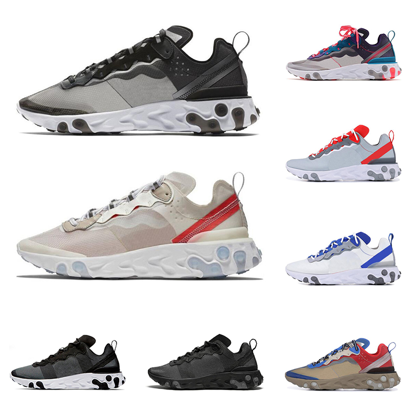 New React Element 87 55 Running Shoes For Men Women Lightweight Triple Bone Black White Royal Solar Red Men Trainers Sport Sneak
