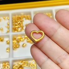 25mm Light Weight 3D Gold Heart Pendant 24KT Gold Plated Brass Heart Pendant