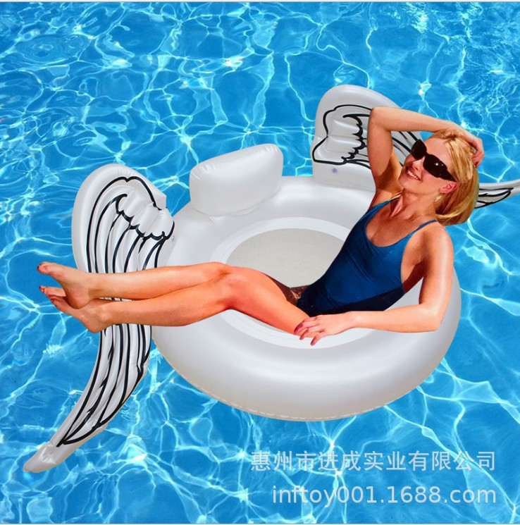 Angel Wings Swimming Tube Pedestal Ring Inflatable Angel Wings Floating Row Loungers Environmentally Friendly PVC Manufacturers