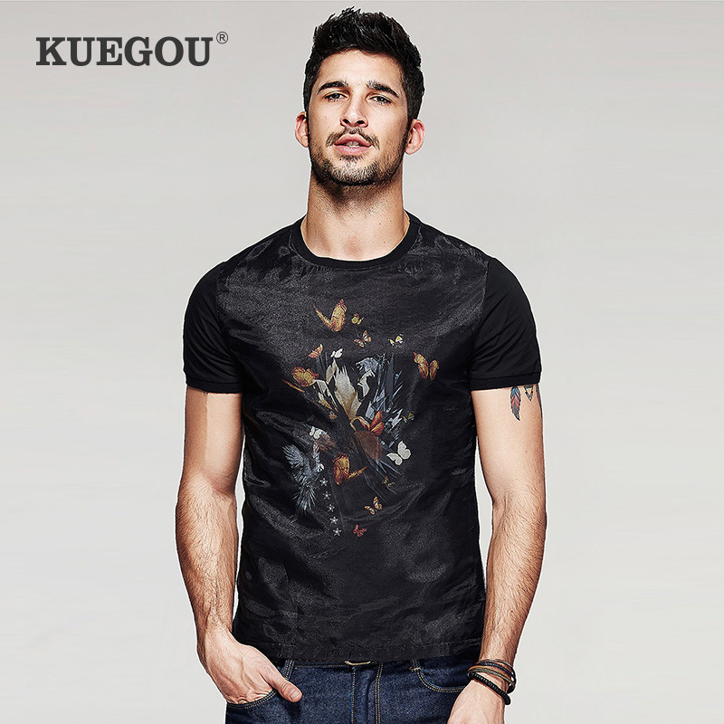Kuegou Brand Fashion Men's Short Sleeve T-shirt Cloth Joining Together  Flowers And Birds Printing Round Neck T-shirt TT-7053