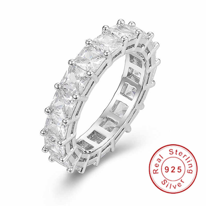 Women/'s Canary Yellow CZ Asscher Cut Eternity Band Ring Sterling Silver .925
