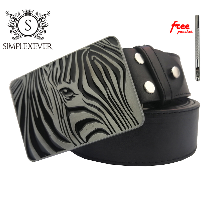 Belts With Zebra Metal Belt Buckle Silver Mens Belt Buckle Head Jeans Accessories For Women With Leather Belt