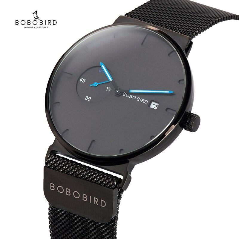 Masculino Homens Relógio de Quartzo Relógios Analógicos Mulheres BOBO PÁSSARO Cinta magnética Pequeno mostrador Azul relogio masculino Fina