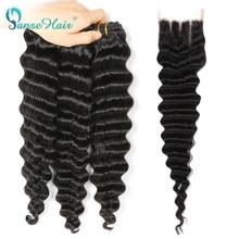 Бразильские волосы Panse, удлинители волос с глубокой волной, 3 пряди с кружевной застежкой 4*4, волосы без Реми, 100% человеческие волосы для плет...