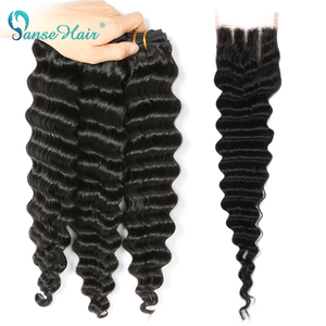 Panse Hair Brazilian Deep Wave Hair Extensions 3 Bundles With A 4*4 Lace Closure Non-Remy Hair 100% Human Hair weaving