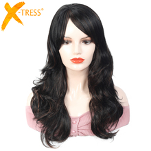 Blonde Wigs Long Wavy Synthetic Hair With Bang X TRESS Low Temperature Fiber Hair Wig For Black Women African American Hairstyle