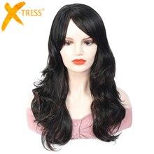 בלונד פאות ארוך גלי סינטטי שיער עם מפץ X TRESS נמוך טמפרטורת סיבי שיער פאה לנשים שחורות אפריקאי אמריקאי תסרוקת