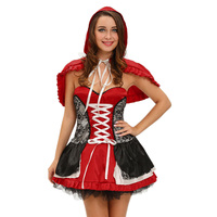 Hot 2019 Cosplay Women Sweet Gothic Vintage Lace Little Red Riding Hood Costume Dress Sex Night Club Uniforms