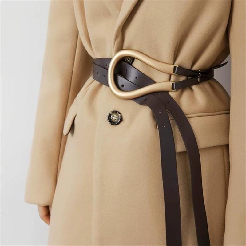 Elegant Women Influencer Stylish All-match Fashion Women PU Leather Female Black New Quality Belt For Blazer