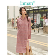INMAN 2019 Autumn New Arrival Hooded Loose Drop-shoulder SLeeve Retro Plaid Casual Sweater Style Women Dress(China)