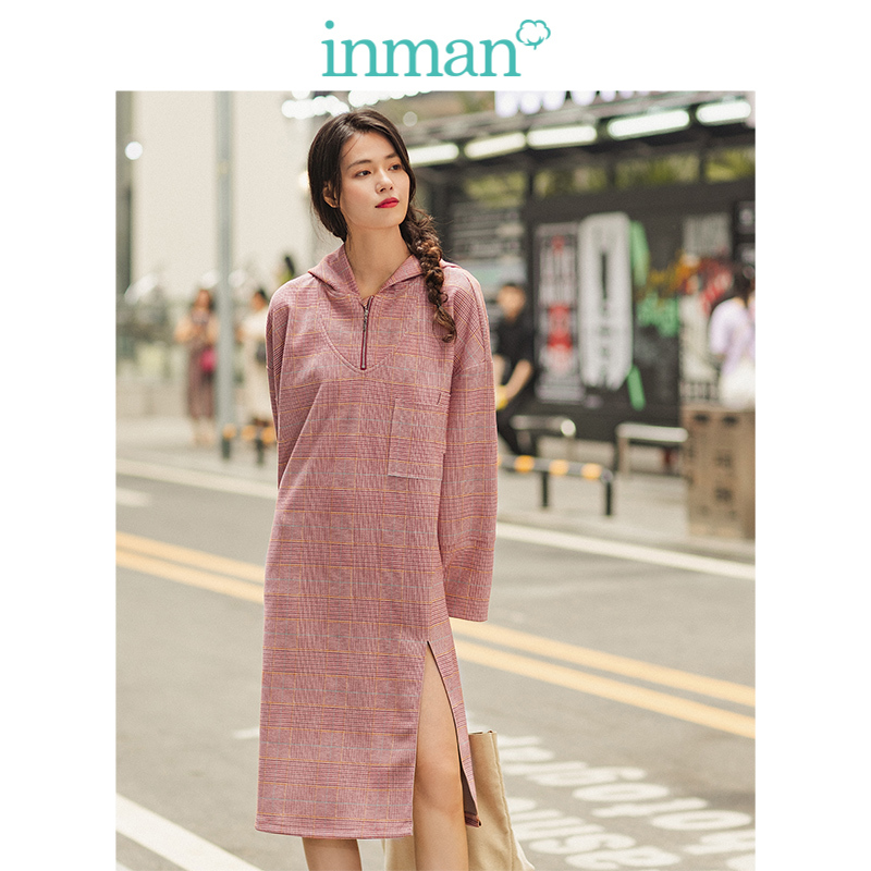 INMAN Spring Autumn Hooded Loose Drop-shoulder SLeeve Retro Plaid Casual Sweater Style Women Dress
