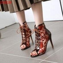 CDAXILAN NEW to sandals women Pinted leather spike heels peep toe cross-tied back zipper super-high heels sandals short boots cross strap back zipper sandals