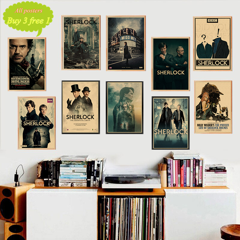 American TV Series Sherlock Holmes <font><b>Wall</b></font> <font><b>Stickers</b></font> <font><b>Retro</b></font> Poster Prints For Living Room Home Decoration painting image
