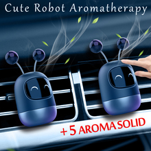 New Car Air Freshener Cute Robot Aromatherapy Auto Air Outlet Perfume Long-lasting Fragrance Clip Diffuser + Solid Car Perfume bon voyage car air freshener perfume air conditioner outlet perfume clip perfume bulldog in auto air freshener