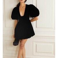 Cosmicchic 2020 Sexy Fashion Black Deep V Neck Bubble Sleeve A Line Mini Party Dress Chic Velvet Retro Women's Dresses