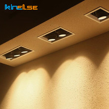 5W 10W 15W LED Kitchen Downlight GU10 Embedded Square Ceiling Light Double Head Bean Bum Spotlight Adjustable Angle Grille Lamp(China)