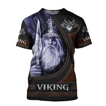 2020 Summer Fashion Viking Odin Mens t-shirt  Raven Tattoo 3D Printed Harajuku Short sleeve T shirts Unisex Casual tops KJ0147 2