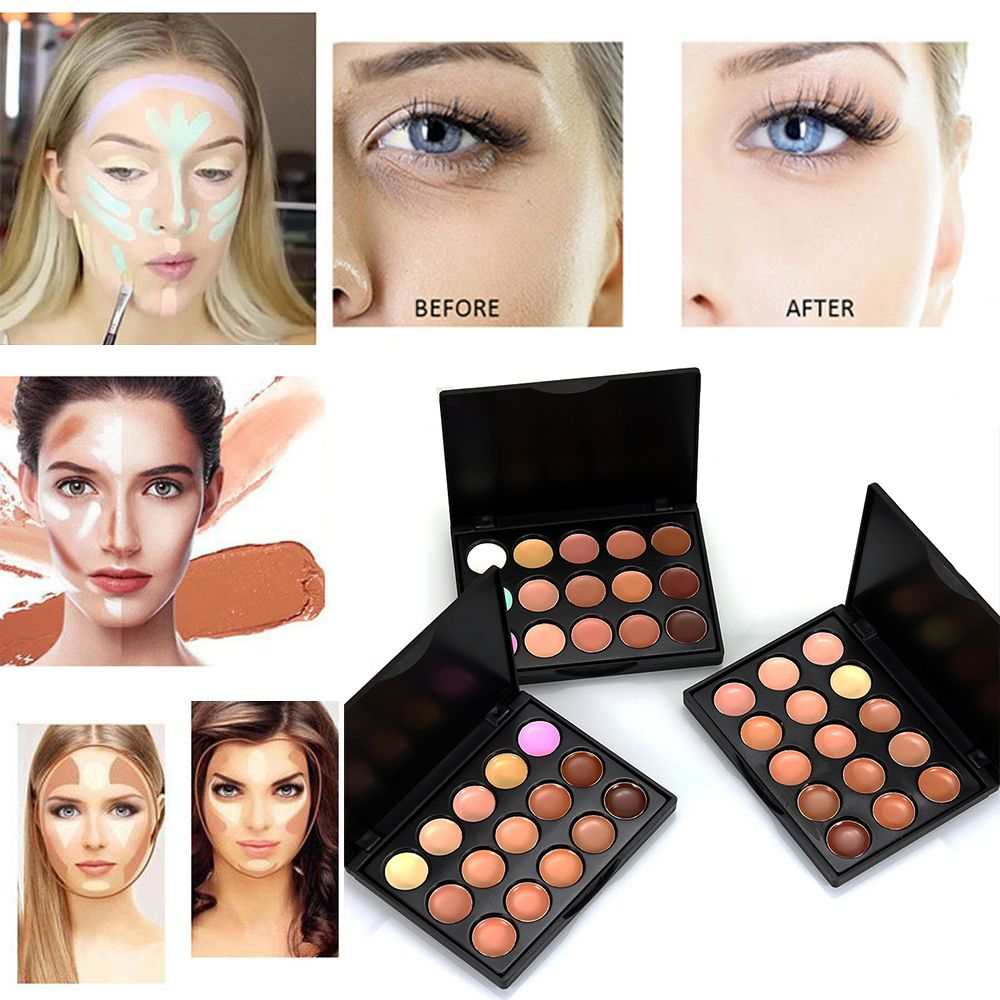 popfeel 15 Colors Mini Face Concealer Camouflage Cream Contour Palette Suit Make Up Eyes Dark Circles Concealer Beauty Outlines image