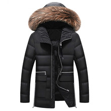 2019 Mens Winter Jacket Men Big Real Fur Collar Hooded Duck Down Jacket Thick Down Jackets  Warm Coat 2XL 3XL 027