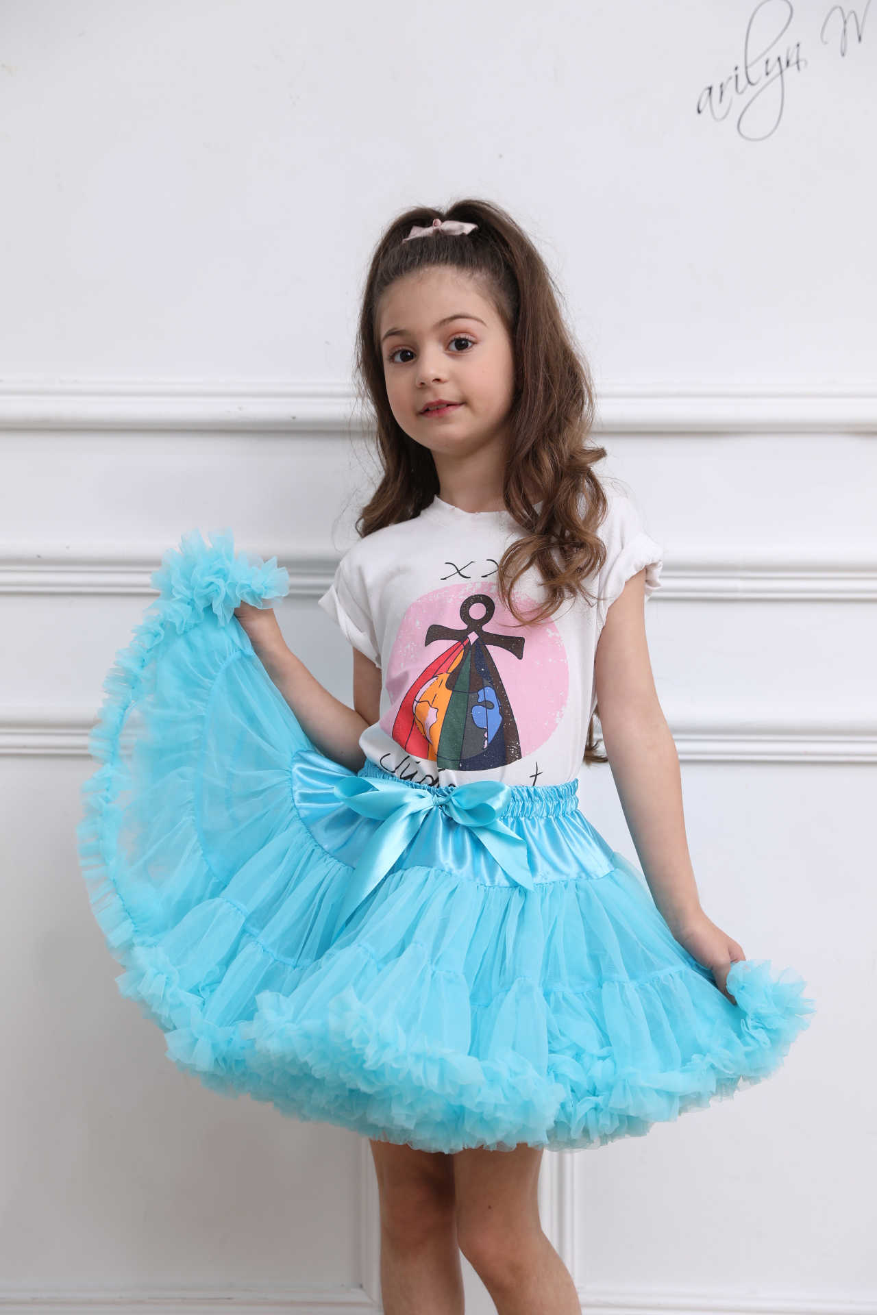 Peach Teal Grey FULL Pettiskirt Skirt Party Dress Dance Tutu Child Girl 1-8Y