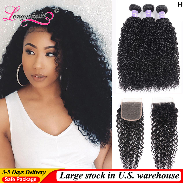 $ US $64.79 Longqi Curly Bundles with Closure Remy Hair Brazilian Hair Weave Bundles with Closure Can Make Lace Closure Wigs 340-350G
