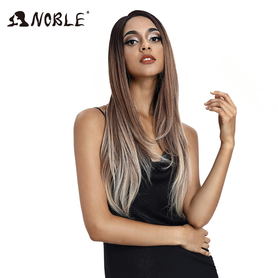 Noble Synthetic Lace Wigs For Black Women 28Inch Blonde Wig  Straight Hair Ombre Lace Wig Cosplay Wigs Synthetic Lace Front Wig