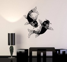 Wall Decal Chinese Style Vinyl Sticker Fish Goldfish Ying Yang Symbol Philosophy Bedroom Living Room Decor Accessories LW182