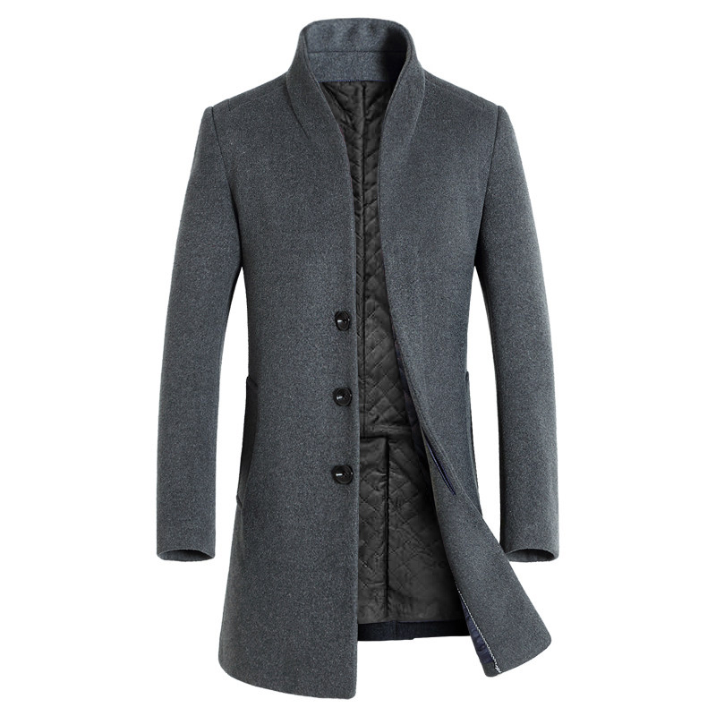 HCXY 2019 Men's Long Trench Coat Elegent Men Wool Winter Jacket Coat Man Overcoat Long Homme Commercial business Windbreaker