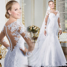Wedding-Dress Long-Sleeves Mermaid Beaded Bridal-Gown Lace Appliques Marriage See-Through
