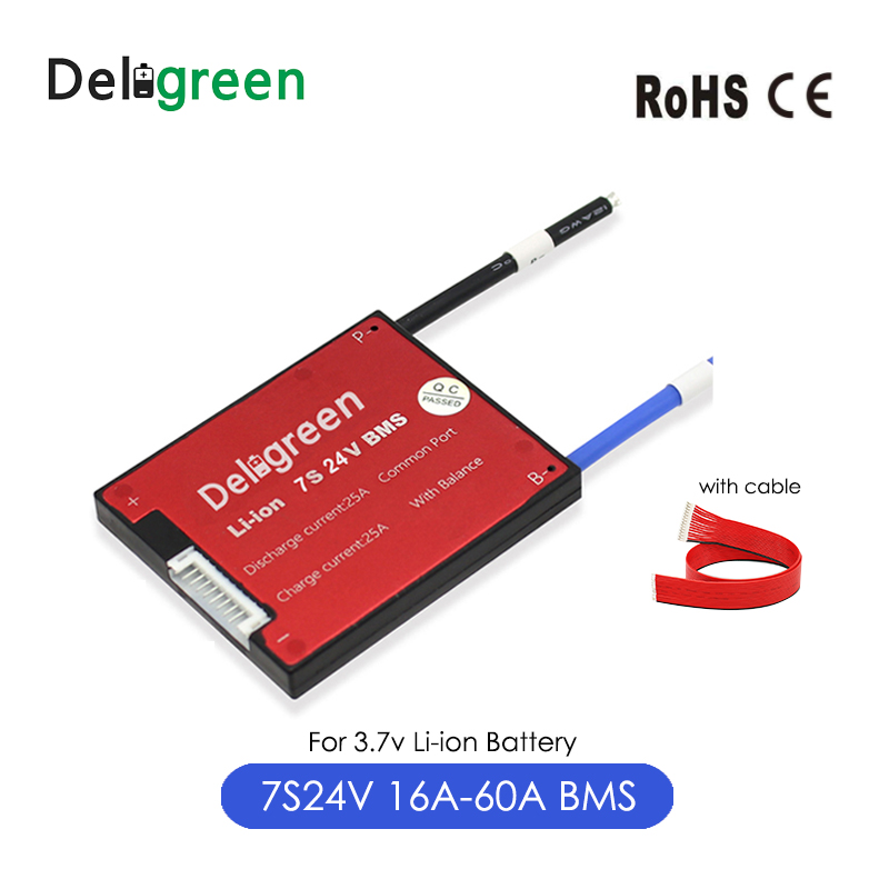 Deligreen 7S 16A 25A 35A 45A 60A 24V PCM/PCB/BMS for 3.7V lithium battery pack 18650 Lithion LiNCM Li-Polymer Scooter