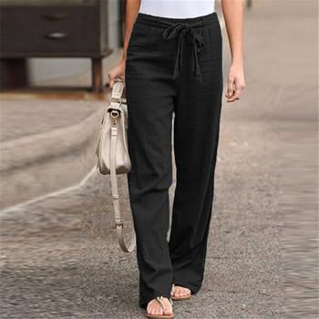 Spodnie damskie spodnie szerokie nogawki jednolity kolor łuk Sash wysoka talia spodnie szerokie nogawki damskie spodnie bawełniane długie spodnie luźne spodnie # J3 tanie i dobre opinie YOUYEDIAN Linen Pełnej długości 0629 Stałe Na co dzień Proste Mieszkanie REGULAR Skrzydeł Suknem Sznurek jeans women jeans