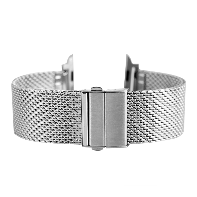 Купить с кэшбэком 42MM 38MM Silver Watch Bracelet Stainless Steel Band for Apple Watch Series 1/2/3 Adjustable Mesh Replacement Strap Watchbands