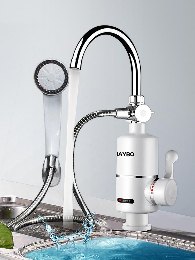 Elektrische 3000W Wasserhahn Küche Bad Armatur Durchlauferhitzer mit EU-Stecker