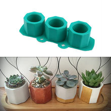 Silicone Pot Molds Form Arts Craft Polygonal Cup Moulds DIY Succulent Flowerpot Clay Plaster Gypsum Mold 3 Holes Concrete Mould(China)