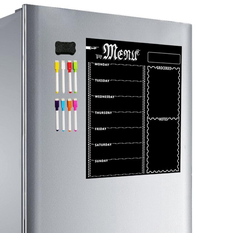 ABKT-A3 Magnetic Whiteboard Sheet For Kitchen Fridge Multipurpose Fridge Weekly White Board Calendar For Menu Planning With 8 Pe