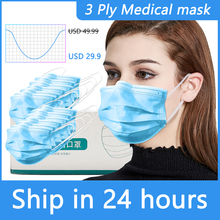 3 Ply Disposable Face Masks Prevent Virus Earloop Face Mouth Masks facial Medical mask Surgical Cover Anti Dust Respirator N95