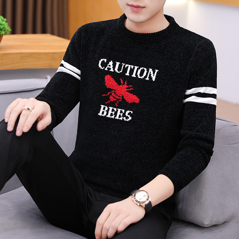 Autumn Winter Sweater Men Tide New Vogue Caution Bees Casual Pullover Men Long Sleeve O-Neck Patchwork Knitted Men Sweaters