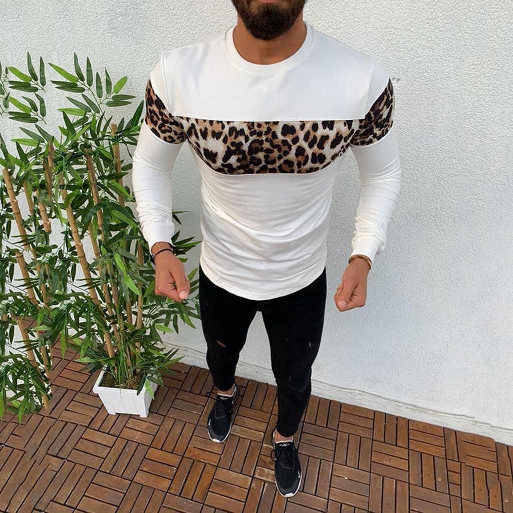 Mens Leopard Print Shirt Long Sleeve T-Shirt Tee Shirt