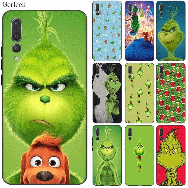 TPU Mobile Phone Case Cover For Huawei Y6 Y5 Y7 Y9 Mate 10 20 Nova 2i 2 3 3i 4 Lite Pro Green Grinch Shell Bag
