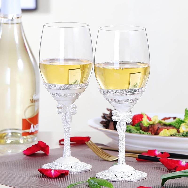 Exquise coupe en verre de champagne blanc couple romantique gobelet en verre de cristal marier cadeaux idée de cadeau de noël