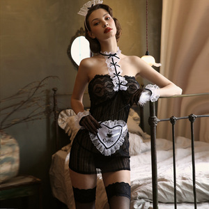 Image 2 - Valentines Day Sexy Maid Uniform Seduction Small Chest Woman Black Costumes Temptation See Through Lace Bow Lingerie Underwear