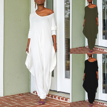 Jumpsuit Women Autumn Sexy Off Shoulder Long Sleeve Office Work Wide Leg Backless Solid Elegant Loose Overalls Streetwear Romper lace insert backless cold shoulder romper