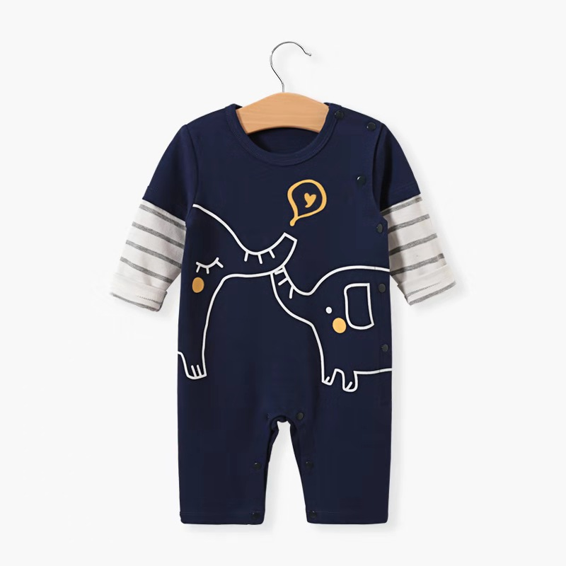 Newborn Clothes Baby Bodysuit Cartoon Animal Cotton Baby Baby Clothes Round Neck Long Sleeve Cotton Spring And Autumn Bodysuit