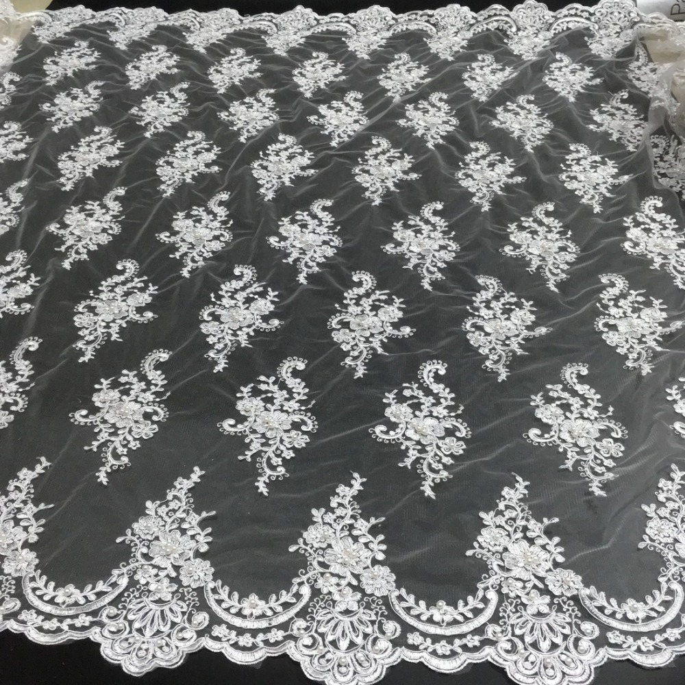 African Beaded Lace Fabric 2018 High Quality Lace Material White French Lace Fabric Nigerian Tulle Mesh Lace Fabrics K-D2327