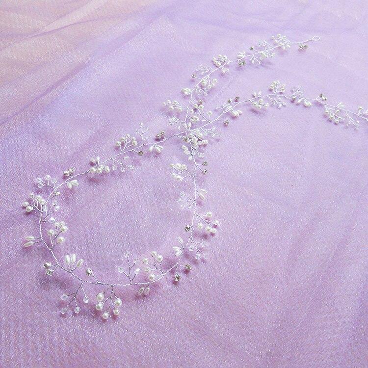 Crystal Pearl Hair Belt Wedding Bridal Hair Ornaments Bridal Headwear Decorations for Brides Wedding Hair Accessories 35cm 5