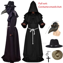 Halloween Medieval Hooded Robe plague doctor costume mask hat for men Monk Cosplay Steampunk Priest horror Wizard Cloak Cape