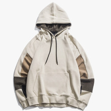 2019 Men's New Casual Stitching Contrast Color Large Pocket Design Long-sleeved Hooded  Temperament Tide Hoodies