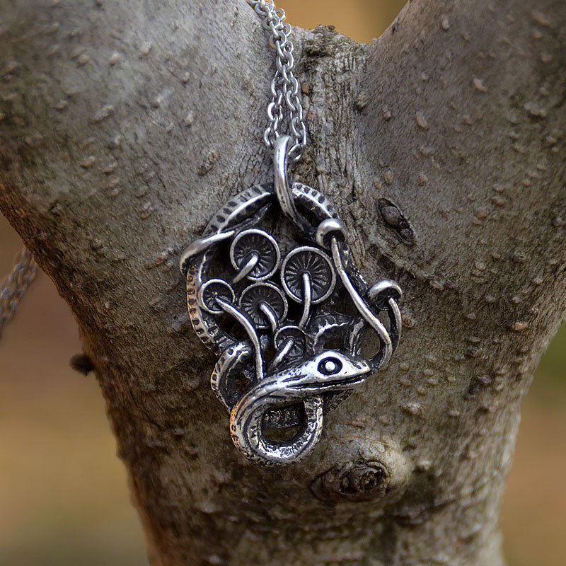 Labradorite Snake Necklace Magic Jewelry Serpent Witch Pendant