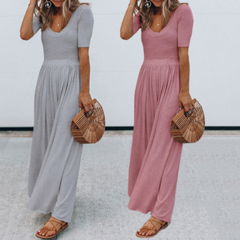 Jumpsuits Women Clothes Solid Color Casual Loose Sexy Wide Leg Jumpsuit Summer Short Sleeve Vintage Lady Simple Long Romper sexy sleeveless jumpsuit women long romper new summer women lady fashion jumpsuit coveralls sexy female black bow jumpsuits